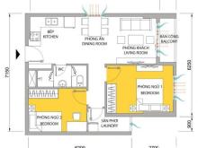 Cho thuê căn hộ M-one, 2PN+1WC, diện tích 61m2, đầy đủ nội thất, tầng cao
